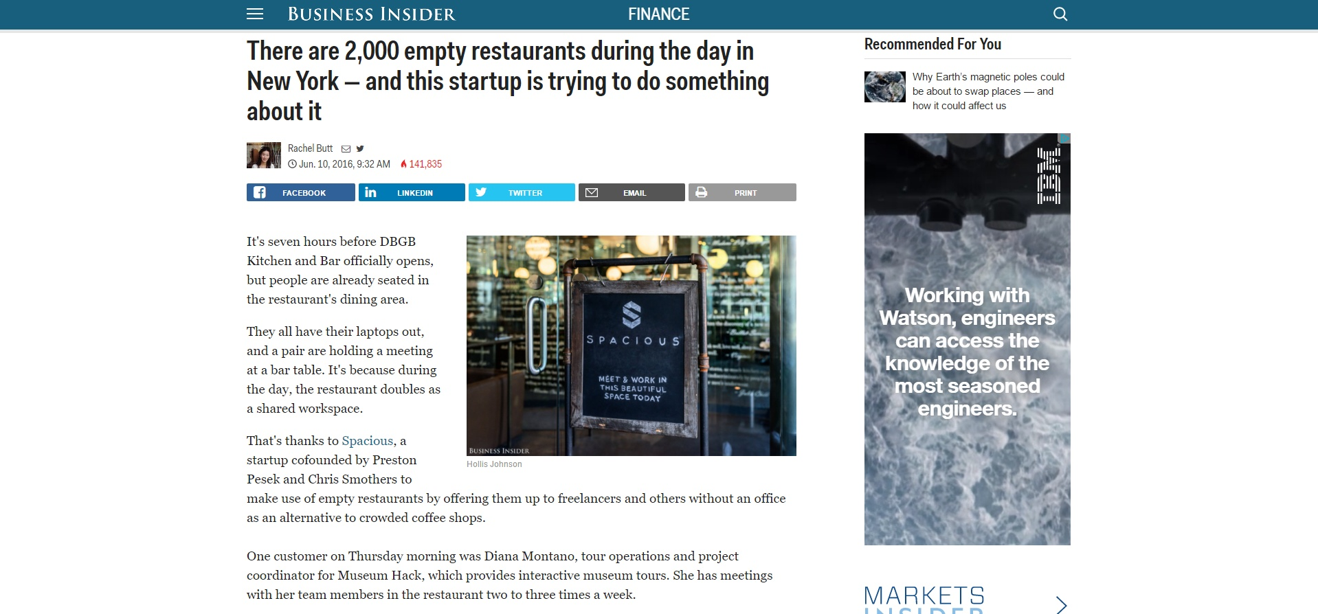 Business Insider Reports on Restaurants Opening Coworking Spaces